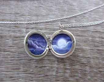 Mini Moon Locket, Tiny Oil Painting in Sterling Silver Necklace, Starry Night