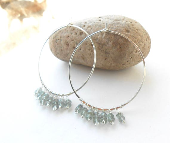 Moss Aquamarine Gemstone Sterling Silver Hoop Earrings