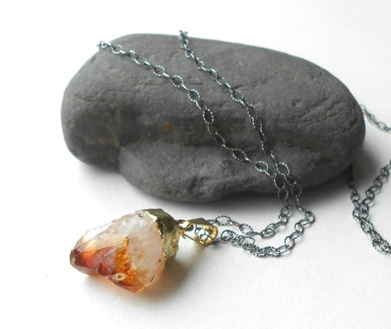 Oxidized Sterling Silver Citrine Pendant Necklace