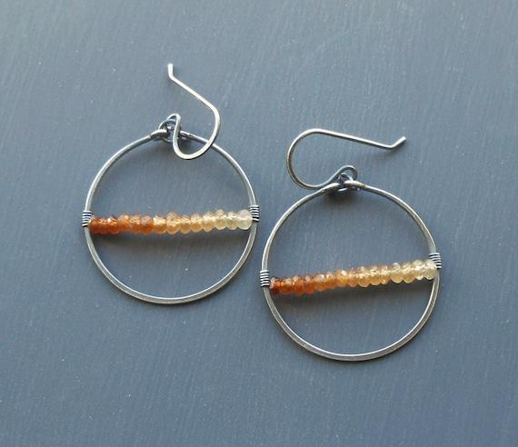 Hessonite Garnet Oxidized Sterling Silver Earrings, Gemstone Dangle Earrings, Geometric Jewelry