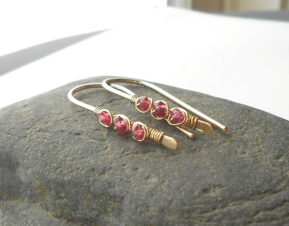 Pink Tourmaline Gold Filled Wire Threader Earrings