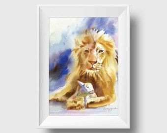 Lion and Lamb Watercolor Art Print -Bible Wall Decor Print - Christian Wall Art