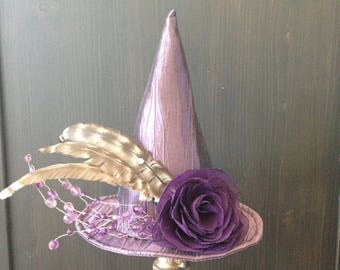 Witches Amethyst Elegant Mini Hat, Purple Witch Halloween Fascinator