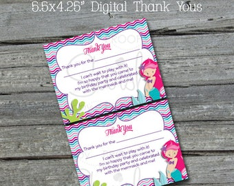 Mermaid Thank You Cards | Mermaid Printable Thank You Notes | Fill in the blank Thank Yous | Digital download | Mermaid Party Ideas |