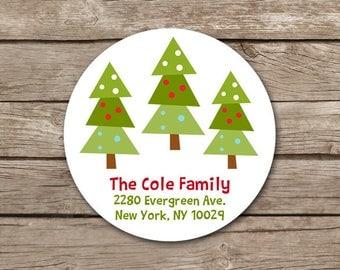 Christmas Address Label, Holiday Address Label, Printable Address Label, Personalized Label, Custom Address Label, Christmas Tree