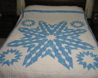 Handquilted Quilt, Blue and White Lone Star Quilt, Queen Size Quilt, Blue And White Quilt, fiber art, quilting