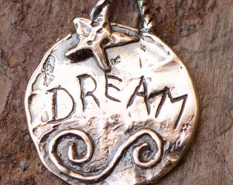 Dream Star Pendant, Inspirational Sterling Silver