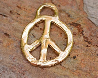 Artisan  Peace Charm in Gold Bronze, Hippie Peace Jewelry, Peace Love Charms