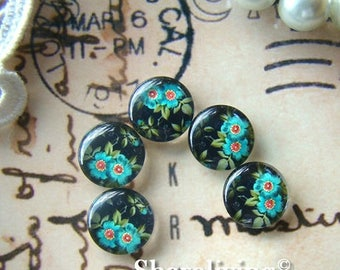 SALE - 30% OFF Glass Cabochon, 8mm 10mm 12mm 14mm 16mm 20mm 25mm 30mm Round Handmade photo glass Cabochons (Flower)  -- BCH083J