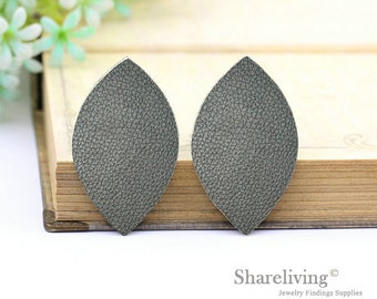 Quality Upgrade - 6pcs (3 pairs) Faux Leather Leaf for Earrings, Black Leaf Leather, DIY Leaf Die Cut, Two sizes  - LF201R