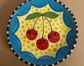 Anthropomorphic Cherries Vintage Style Small Ceramic Bowl Hand Painted by Sharon Bloom Designs