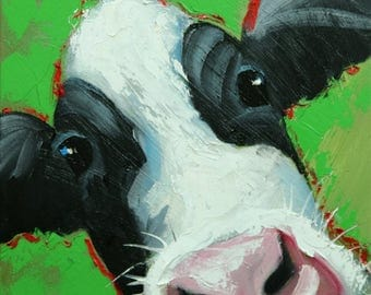 Cow painting 1221 12x12 inch original animal portrait oil painting by Roz