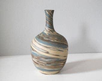 Evans Mission Swirl Vase, Antique Pottery Vase, Arts and Crafts Decor, Brown Blue Ceramic Pot, American Art Pottery, Mission Ware Stripe
