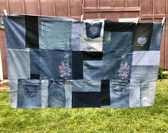 Quilt Breast Cancer Awareness Quilt Throw, Recycled Denim Blue Jeans OOAK