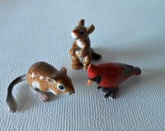 Miniature Chipmunk Figurine, Miniature Cardinal Bird, Miniature Kangaroo Rat, Animal,~Fairy Garden~Miniature Garden~Terrarium~Dish Garden