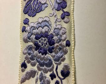 Vintage Lace trim Blue Flowers on White 1.5 inches Wide