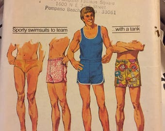 Vintage 1970's Men's Tank Top Shirt Bathing Suit Simplicity 5046 Sewing Pattern Size 42-44
