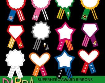 Superhero Award Ribbons clipart - superhero ribbons commercial use graphics - printable clip art - instant download, digital images
