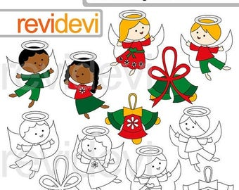 35% OFF SALE December Angels clipart / Cute angel clip art / digital images / christmas graphics / commercial use