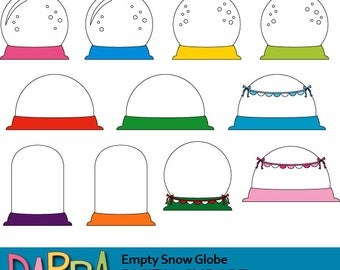 Empty snow globes clipart / snow glass, snowglobe clip art commercial use / winter clipart / christmas clip art download