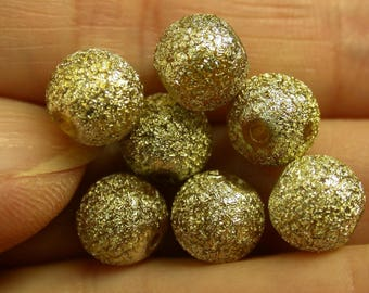 Vintage GLITTER Lucite Beads Gold Silver 8mm pkg8 res135