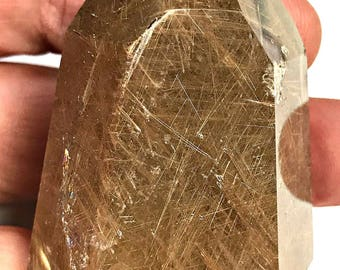 VINTAGE Rutilated Quartz POLISHED CRYSTAL Gold Needles 522 cts pkg1 rq52