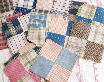 Rural Life...Lot of Old Vintage Patchwork Quilt Blocks...Gingham/Plaid/Calico