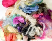 wool roving silk, spinning felter pack, fibre bundle, handspinner, hand dyed merino wool, hand spinning .. wild fibre pack 13