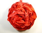 scarlet .. hand dyed silk ribbon yarn, recycled silk fabric ribbon, soft knitting, weaving, crochet supply