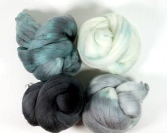 rock pool .. wool roving set, weaving creative yarn bundle, handspinner, hand dyed merino wool, hand spinning