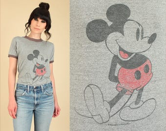 ViNtAgE 80's Mickey Mouse Ringer T-Shirt // Threadbare // Super Soft & Thin Heathered Gray Black Tee Walt Disney World Disneyland Tshirt