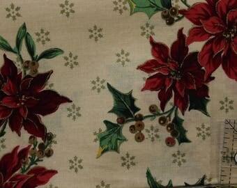 Vintage Floral  Christmas with gold accents  Fat Quarter 100% cotton Cranston Print works