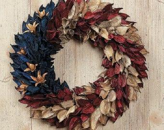 American Flag Floral Pod Wreath