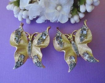 Trifari Rhinestone Butterfly Earrings 1940s Alfred Philippe clip earrings