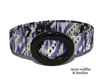 Painted Purple Belt  / Womens Ribbon Belt / Preppy Cloth Belt - Abstract Purple Black White /  Wide Belt Skinny Belt / Plus Sized Belt