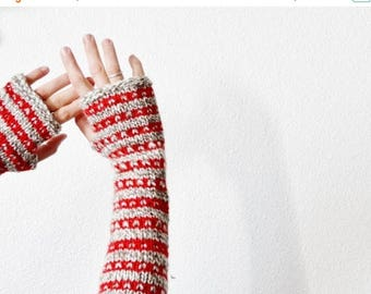 First Fall Sale - 15% Off Red and Natural Folk Mitts - Hand Knit Patterned Arm Warmers in Owlfeather & True Red - Striped Forest Fae Nature