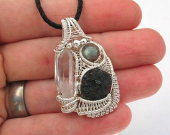 Wire Wrapped Pendant Moldavite Labradorite Quartz Crystal Jewelry Heady Wire Wrap Pendant Sterling Silver
