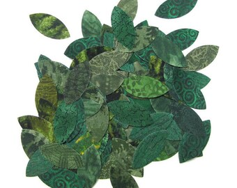 Applique leaf tinies, BULK PACK, diy, 100 spring/summer leaves,  Iron on, diecut, TEMPORARILY Fused 100% premium cotton, Precision die cut