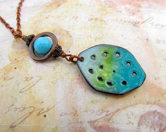 turquoise Boho necklace gift for her 25 Enamel jewelry long pendant necklace rustic jewelry