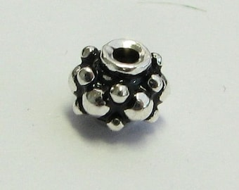 SHOP SALE Antiqued Dotted Rondelle Beads Spacer Beads Bali Sterling Silver 5mm x 4.5mm (4 beads)