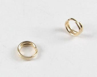 SHOP SALE 5mm Split Rings, Gold Filled Gold Fill, Round Split Rings, Jewelry Supplies, Beading Findings (10 pieces)