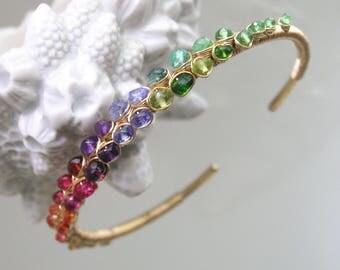 Multi Gemstone Encrusted 14k Gold Filled Cuff, Stackable Bracelet with Tsavorite, Tanzanite, Amethyst, Garnet, Sapphire