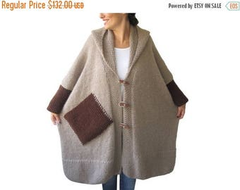 20% WINTER SALE Plus Size Over Size Beige Mohair Overcoat - Poncho - Pelerine with Hood and Brown Pocket