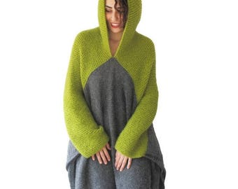 20% WINTER SALE NEW! Green - Gray Pelerine by Afra Over Size Plus Size