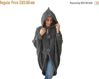 20% WINTER SALE Hooded Pelerine, Hooded Poncho, Hooded Long Cape, Outwear