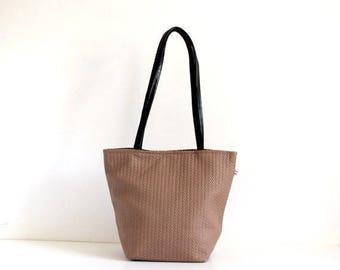 ON SALE Mocha handbag , Leather handles