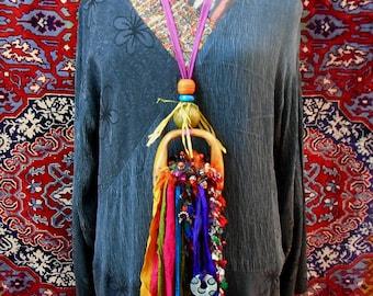 Weaver Bird statement necklace, assemblage design, sari silk art to wear or wall art