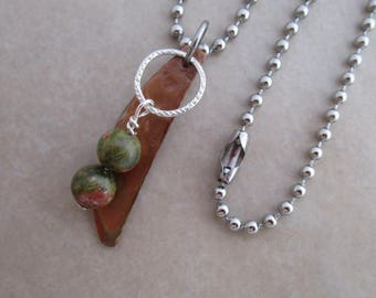 sixth sense necklace unakite stainless steel oxidized copper