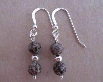 snowflake jasper sterling silver earrings brown gray