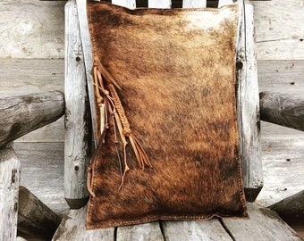 Leather Pillow in Hair On Cowhide with Antler and Rustic Trim - Cabin  Home - Ranch - Handmade - Brindle Hide - Soft Fur - by Stacy Leigh
